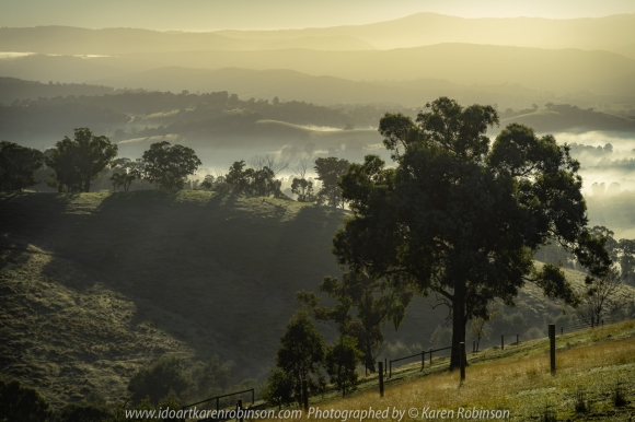 Yarra Glen, Victoria - Australia 'Wise Road Views' Photographed by Karen Robinson Jun 2020 Comments - A misty early morning looking out over the plains and towards the mountains from Wise Road.