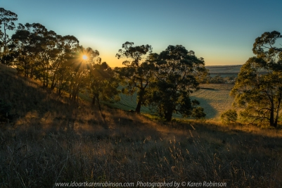 Mount Franklin, Victoria - Australia 'Early Morning on Mount Franklin Road and Midland Hwy' Photographed by Karen Robinson June 2020 Comments - Early morning start capturing the sunrise and beautiful early morning light streaming across the plains.