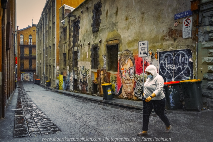 Melbourne, Victoria - Australia 'Wet Morning Street Photography' Photographed by Karen Robinson. Dec 2021 Comments: Giving Street Photography a go in the City of Melbourne. Photography featuring Higson Lane off Flinders Lane.