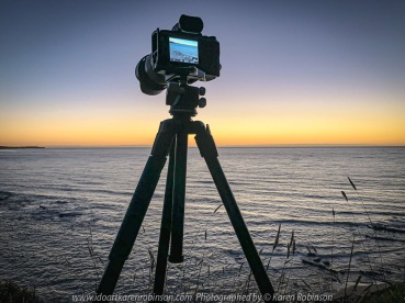 Eastern View, Victoria - Australia 'Devil's Elbow at Sunrise' Photographed by Karen Robinson February 2021 Comments: Beautiful mild summer morning overlooking the ocean along Lorne-Queenscliff Coastal Reserve, just off the Great Ocean Road. Photograph featuring Camera setup on Tripod ready for taking photographs of the sunrise.