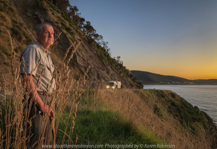 Eastern View, Victoria - Australia 'Devil's Elbow at Sunrise' Photographed by Karen Robinson February 2021 Comments: Beautiful mild summer morning overlooking the ocean along Lorne-Queenscliff Coastal Reserve, just off the Great Ocean Road. Photograph featuring hubby looking out over the ocean.