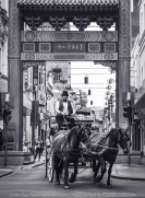 Melbourne, Victoria - Australia 'Little Bourke Street' Photographed by Karen Robinson Jan 2021 Comments: Decided to venture into the City of Melbourne - Chinatown on Little Bourke Street to do some Street/Documentary Style Photography. Photograph featuring horse-drawn cart and driver going through China town's arches.