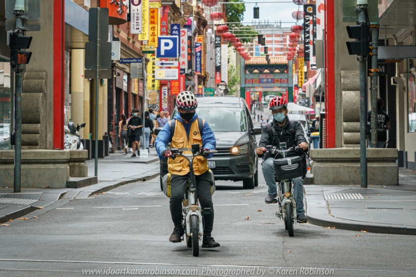 Melbourne, Victoria - Australia 'Little Bourke Street' Photographed by Karen Robinson Jan 2021 Comments: Decided to venture into the City of Melbourne - Chinatown on Little Bourke Street to do some Street/Documentary Style Photography. Photograph featuring two men on motorcycles.