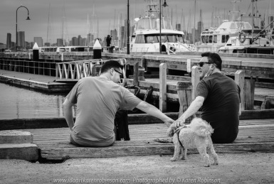 Williamstown, Victoria - Australia 'Williamstown Newport Foreshore' Photographed by Karen Robinson February 2021 Comments: Hunt and Shoot day with Craigieburn Camera Club looking for interesting subjects to photograph. Photograph featuring two men with their dog.