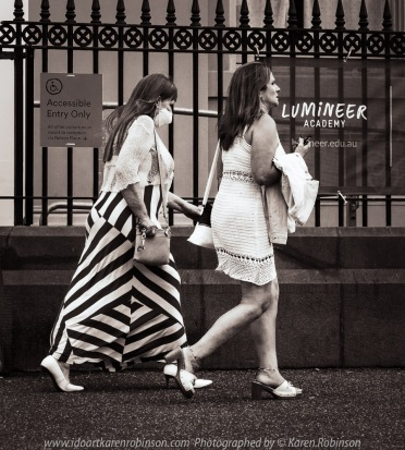 Williamstown, Victoria - Australia 'Williamstown Newport Foreshore' Photographed by Karen Robinson February 2021 Comments: Hunt and Shoot day with Craigieburn Camera Club looking for interesting subjects to photograph. Photograph featuring two women dressed up and going out for lunch.