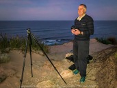 Sorrento, Victoria - Australia 'Jubilee Point' at Sunrise Photographed by ©Karen Robinson March 2021 Comments: Mild summer morning experiencing a glorious sunrise at Jubilee Point which looks out over Bass Strait, open ocean and towards the Bay of Islands. Photograph featuring hubby helping me set up the tripod and camera equipment in readiness for taking a sunrise shot.