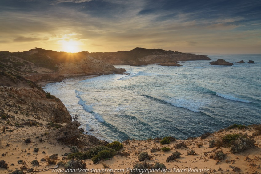 Sorrento, Victoria - Australia 'Jubilee Point' at Sunrise Photographed by ©Karen Robinson March 2021 Comments: Mild summer morning experiencing a glorious sunrise at Jubilee Point which looks out over Bass Strait, open ocean and towards the Bay of Islands.
