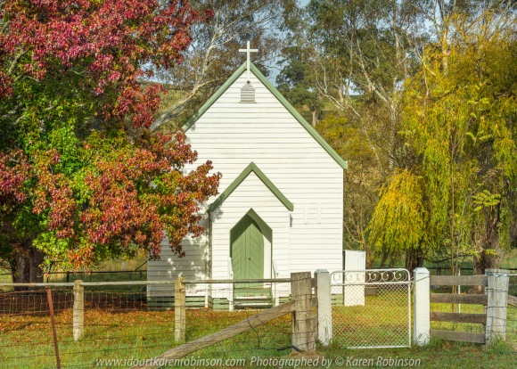 Molesworth, Victoria - Australia 'Christ Church on Goulburn Valley Highway' Photographed by Karen Robinson Comment: Little Church boldly standing amongst trees full of autumn colour.