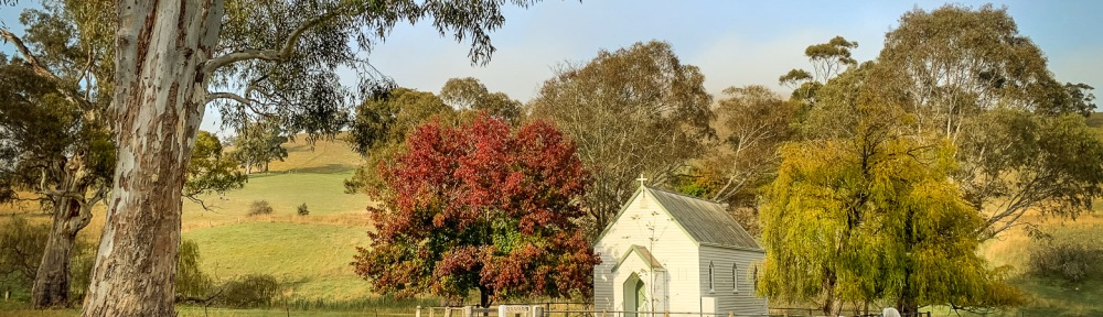 Molesworth, Victoria - Australia 'Christ Church on Goulburn Valley Highway' Photographed by Mark Robinson Comment: Little Church boldly standing amongst trees full of autumn colour.