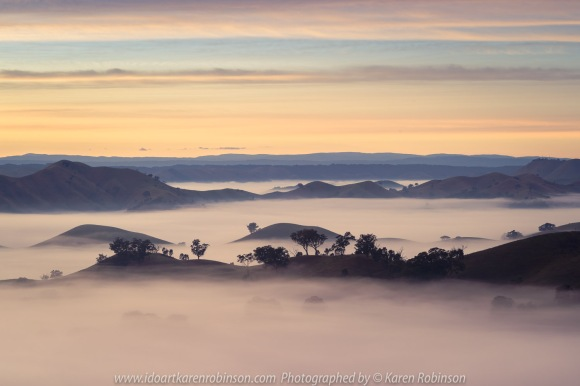 Strath Creek, Victoria - Australia 'Sunrise at Murchison Gap Lookout' Photographed by Karen Robinson May 2021 Comment: Beautiful sunrise at lookout. Foggy mystical views of the valleys stretched across a vast landscape.