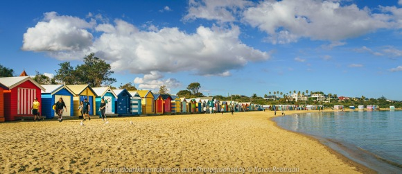 Brighton, Victoria - Australia 'Brighton Beach' Photographed by ©Karen Robinson May 2021 Comment: Brighton Beach capturing beautiful calm water views looking out over Port Phillip Bay and colourful Brighton Bathing Boxes.