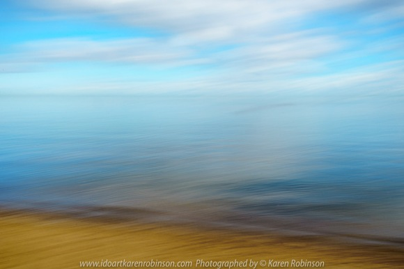 Brighton, Victoria - Australia 'Brighton Beach' Photographed by ©Karen Robinson May 2021 Comment: Brighton Beach capturing beautiful calm water views looking out over Port Phillip Bay and colourful Brighton Bathing Boxes. Photograph featuring ICM Photography.